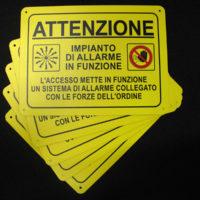 Targa-attenzione impianto d'allarme