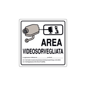 AREA VIDEOSORVEGLIATA COLLEGATA CON LA CENTRALE 200x200 mm