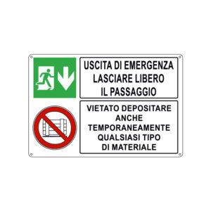USCITA DI EMERGENZA LASCIARE LIBERO IL PASSAGGIO 300x200 mm