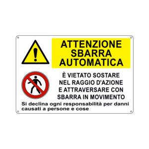 ATTENZIONE SBARRA AUTOMATICA 300x200 mm