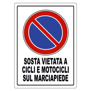 SOSTA VIETATA A CICLI E MOTOCICLI SUL MARCIAPIEDE 370x270 mm