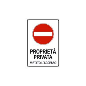 PROPRIETÀ PRIVATA DIVIETO D'ACCESSO 200x300 mm