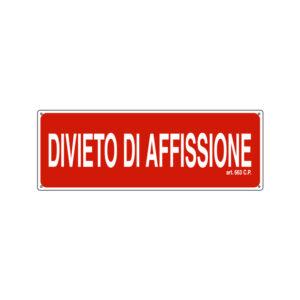 DIVIETO DI AFFISSIONE 350x125 mm