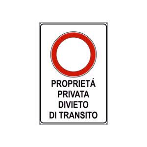 PROPRIETÀ PRIVATA DIVIETO DI TRANSITO 300x450 mm